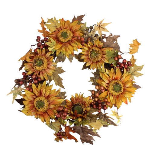 Sunflower and Berry Artificial Floral Wreath, Yellow 24-Inch - IMAGE 1