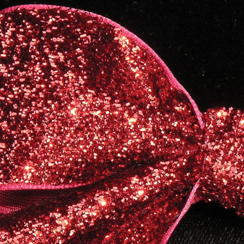 """Scarlet Red Glitter Woven Edge Velvet Craft Ribbon 1.5"""" x 11 Yards - IMAGE 1"""