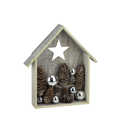"11"" Battery Operated Brown and White LED Rustic House Christmas Tabletop Decor - IMAGE 1"