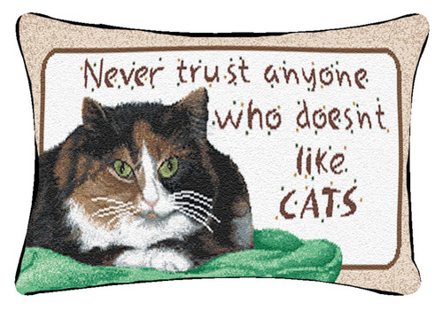 """12.5"""" White and Brown """"Cats"""" Rectangular Throw Pillow - IMAGE 1"""