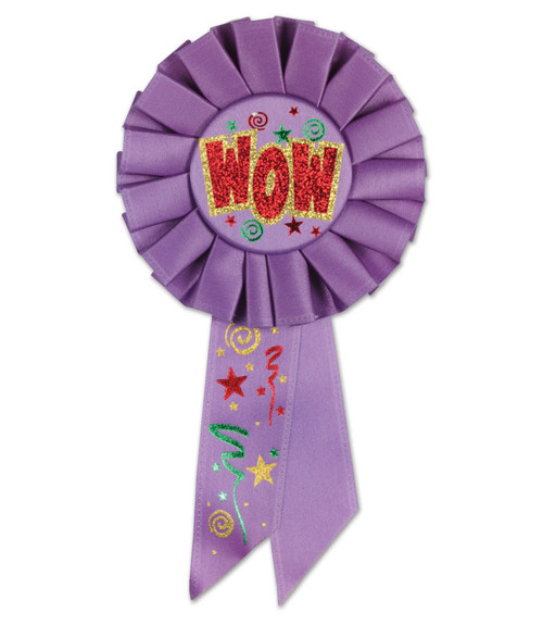 "Pack of 6 Light Purple ""WOW"" School and Sports Award Rosette Ribbons 6.5"" - IMAGE 1"
