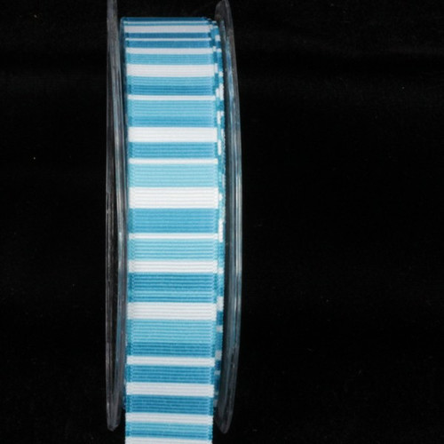 "Blue and White Striped Wired Craft Ribbon 1"" x 54 Yards - IMAGE 1"