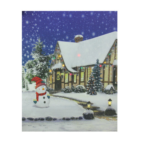 """LED Lighted Christmas Snowman with Decorated Home Canvas Wall Art 19.75"""" x 23.5"""" - IMAGE 1"""