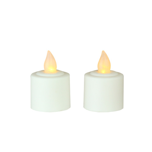 """Pack of 2 White Battery Operated LED Flickering Amber Lighted Christmas Votive Candles 1.5"""" - IMAGE 1"""