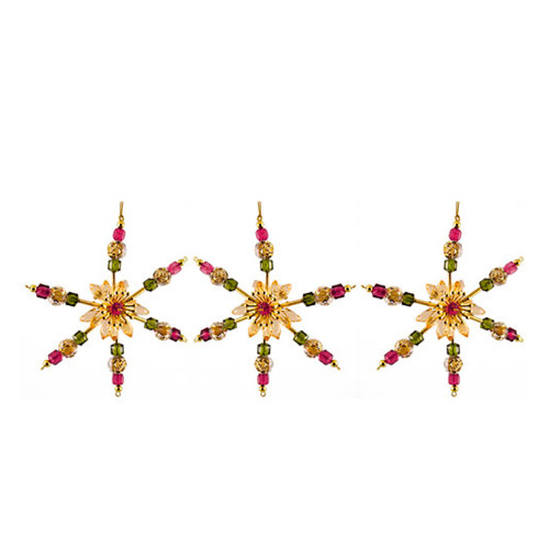 """3ct Gold and Pink Beaded Snowflake Christmas Ornaments 6"""" - IMAGE 1"""