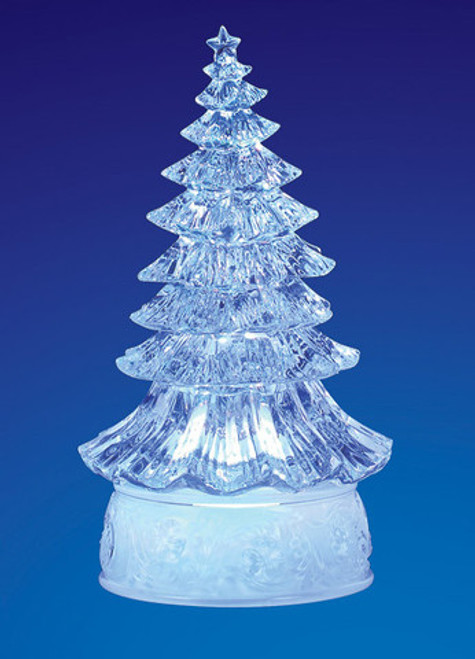 """Set of 4 Clear Decorative LED Lighted Traditional Christmas Tree Figurines 9"""" - IMAGE 1"""
