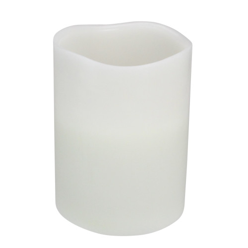 """8"""" White Battery Operated Flameless LED Wick Flickering Pillar Candle - IMAGE 1"""