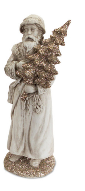"""16"""" Antique-Style Gray Santa Claus Christmas Figure Carrying a Silver Beaded and Glittered Tree - IMAGE 1"""