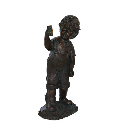 """18"""" Black & Bronze Boy with Cell Phone Solar Powered Outdoor Garden Statue - IMAGE 1"""