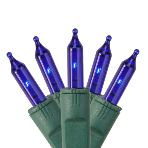 50-Count Blue Perm-O-Snap Mini Christmas Light Set, 24.75ft Green Wire - IMAGE 1