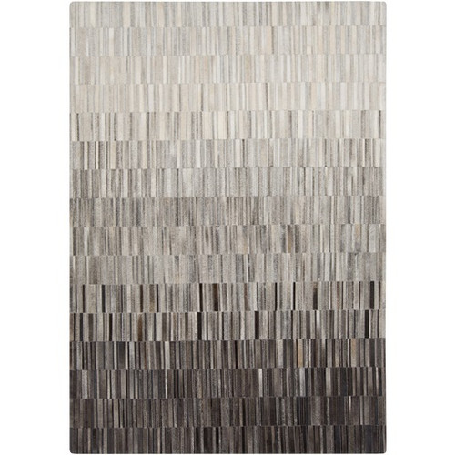 5' x 8' Contemporary Slate Gray and Black Hand Crafted Area Throw Rug - IMAGE 1