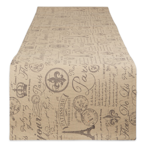 """Beige and Brown French Flourish Printed Rectangular Table Runner 72"""" - IMAGE 1"""