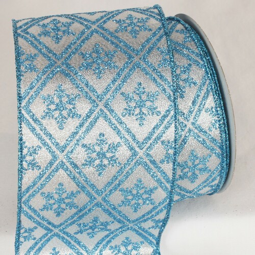 """Silver and Blue Christmas Snowflake Wired Craft Ribbon 4"""" x 20 Yards - IMAGE 1"""