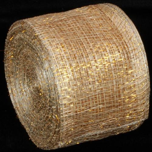 "Gold Wired Sinamay Abacá Fiber Ribbon 3"" x 64 Yards - IMAGE 1"