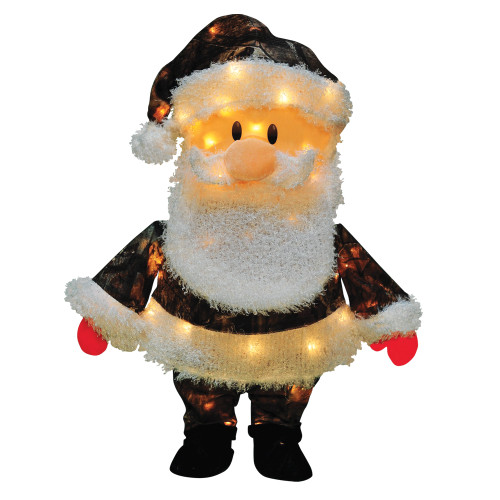 """24"""" Brown and White Pre-Lit Santa Claus in Cam Outdoor Christmas Decor - IMAGE 1"""