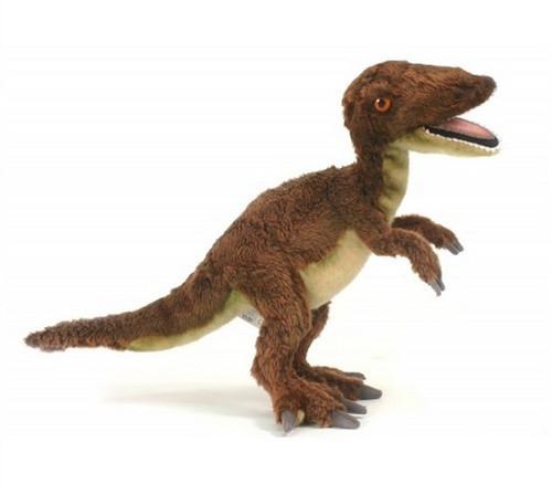 "Set of 2 Brown Handcrafted Soft Plush Velociraptor Stuffed Animals 19"" - IMAGE 1"