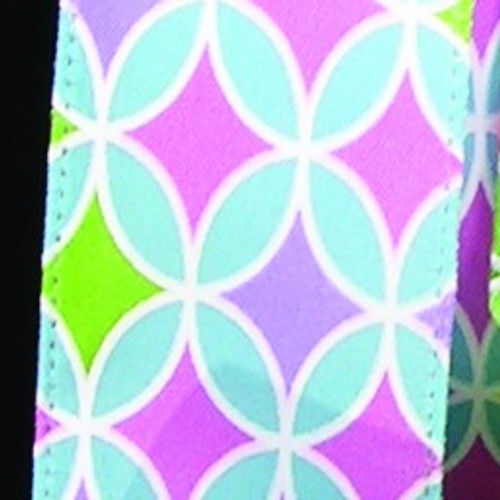 """Blue and Pink Retro Psychedelic Print Wired Craft Ribbon 1.5"""" x 40 Yards - IMAGE 1"""