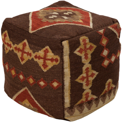 """18"""" Chocolate Brown and Cinnamon Red Southwestern Wool Square Pouf Ottoman - IMAGE 1"""