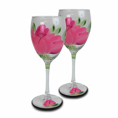 Set of 2 Pink Floral Hand Painted Wine Drinking Stemware Glasses 10.5 oz. - IMAGE 1