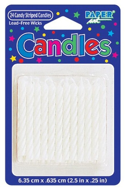 """Club Pack of 288 Eco-Friendly White Candy Stripe Spiral Decorative Birthday Party Candles 2.5"""" - IMAGE 1"""