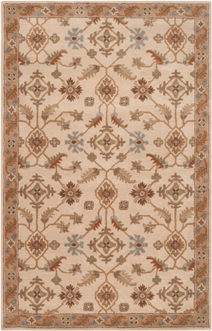8' x 11' Tortilla Brown and Sage Green Hand Tufted Rectangular Area Throw Rug - IMAGE 1