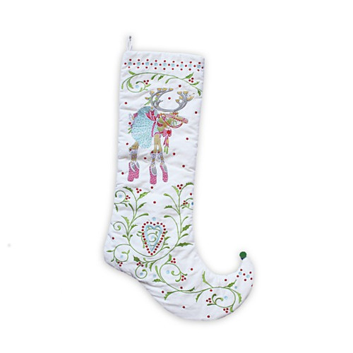 """28"""" White and Red Dancer Embroidered Christmas Stocking - IMAGE 1"""