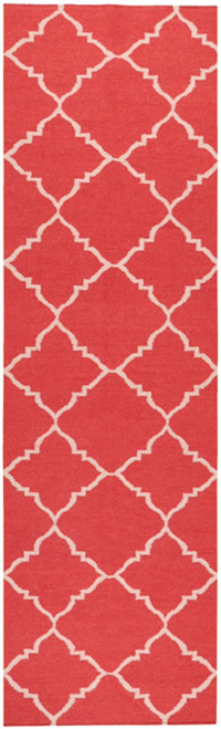 2.5' X 8' Diamond Dream Red and Ivory Reversible Woven Wool Throw Rug Runner - IMAGE 1