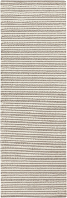 2.5' x 8' Cream White and Taupe Hand Woven Rectangular Wool Area Throw Rug Runner - IMAGE 1