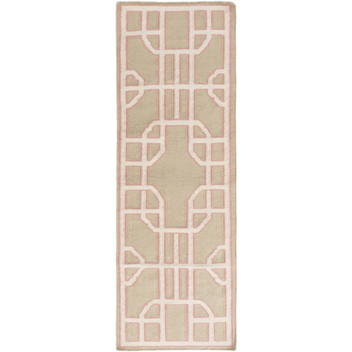 2.5' x 8 Bohemian Gates Pink and Beige Geometric Hand Woven Rectangular Wool Area Throw Rug Runner - IMAGE 1