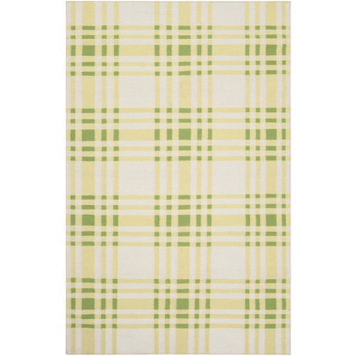 5' x 8' Beige and Green Plaid Pattern Wool Area Throw Rug - IMAGE 1