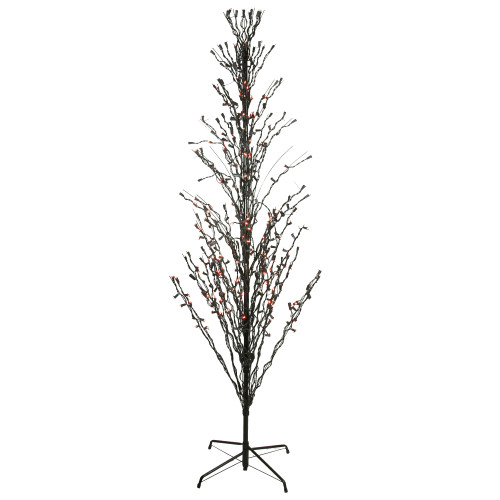 6' Orange and Black LED Lighted Cascade Twig Tree Outdoor Halloween Decor - IMAGE 1