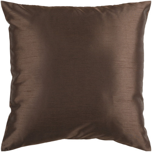 """22"""" Chocolate Brown Solid Square Contemporary Throw Pillow - Down Filler - IMAGE 1"""