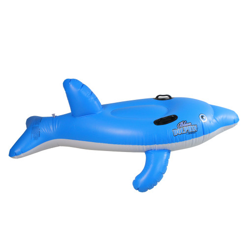 """61"""" Inflatable Blue Ride-On Dolphin Swimming Pool Float - IMAGE 1"""