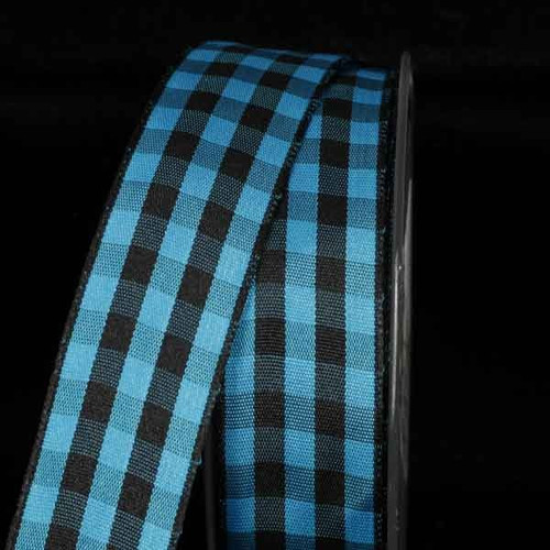 """Black and Blue Gingham Wired Woven Edge Craft Ribbon 1"""" x 54 Yards - IMAGE 1"""