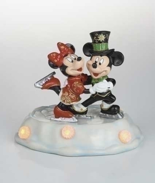 "Pre-Lit Black and Red Cloisonne Mickey with Minnie Skating Christmas Figurine 7"" - IMAGE 1"