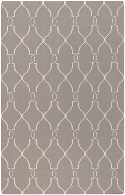 8' Open Swirled Gray and Ivory Hand Woven Round Wool Area Throw Rug - IMAGE 1