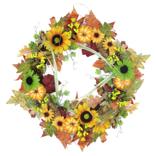 Autumn Mixed Pine Cones and Pumpkins Artificial Thanksgiving Wreath, Yellow 24-Inch - IMAGE 1