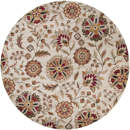 8' Beige and Red Floral Hand Tufted Round Area Throw Rug - IMAGE 1