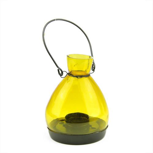 "5"" Transparent Yellow Glass Tapered Bottle Tea Light Candle Lantern Decoration - IMAGE 1"