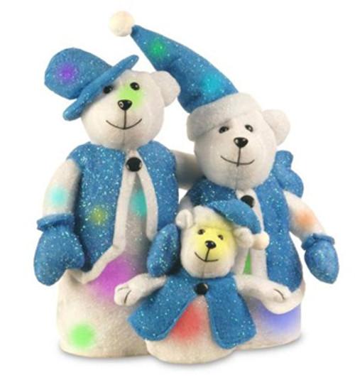 "16"" Blue and White LED Lighted Bear Family Christmas Decor - IMAGE 1"