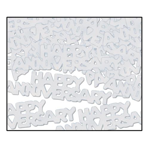 Club Pack of 12 Silver Fanci-Fetti Happy Anniversary Celebration Confetti Bags 0.5 Oz - IMAGE 1