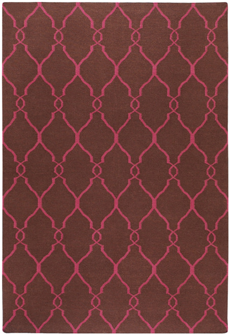 8' Brown and Red Damask Hand Tufted Wool Area Throw Rug - IMAGE 1