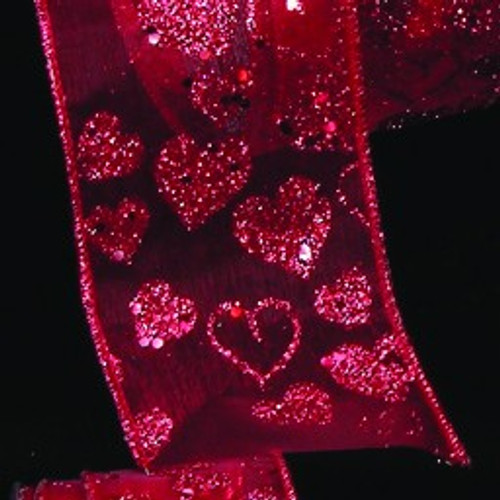 """Sheer Red Love Glittered Hearts Wired Craft Ribbon 2.5"""" x 27 Yards - IMAGE 1"""