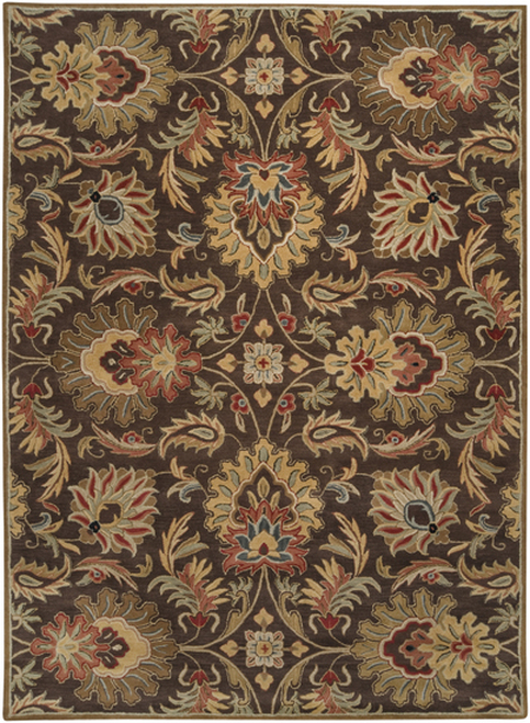 9' x 12' Brown and Ivory Contemporary Hand Tufted Floral Rectangular Wool Area Throw Rug - IMAGE 1