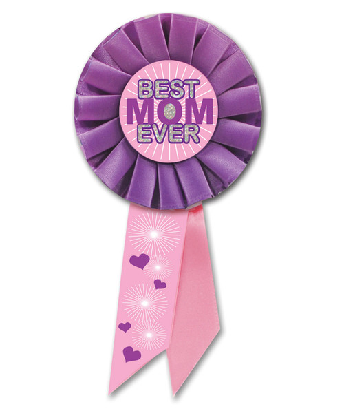 "Pack of 6 Pink and Purple ""Best Mom Ever"" Mother's Day Rosette Ribbons 6.5"" - IMAGE 1"