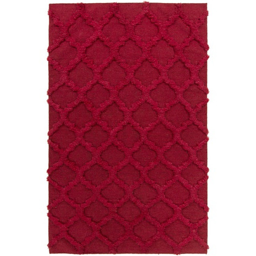 2' x 3' Honeycomb Heaven Cherry Red Wool Area Throw Rug - IMAGE 1