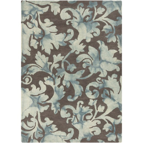 9' x 13' Brown and Blue Contemporary Hand Tufted Area Throw Rug - IMAGE 1