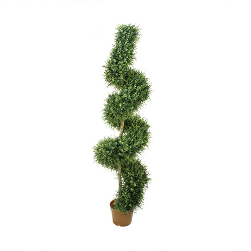 6' Potted Two-Tone Artificial Boxwood Spiral Topiary Tree - IMAGE 1