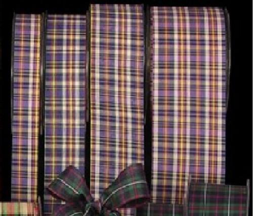 "Blue and Ivory Tartan Cut Edge Craft Ribbon 1"" x 132 Yards - IMAGE 1"