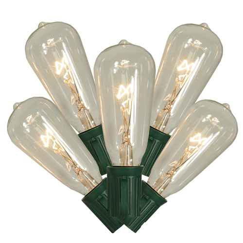 10-Count Clear and Green Transparent ST40 Edison Style Christmas Light Set - 9 ft Green Wire - IMAGE 1